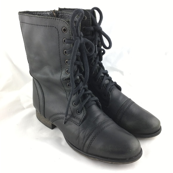 4bac5075bbf Troopa combat boot black leather zip mid calf 9